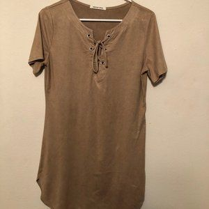 Better Be Faux Suede Tan Dress | Size: M